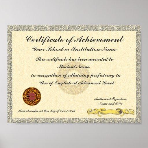 Certificate of Achievement School College Award Posters