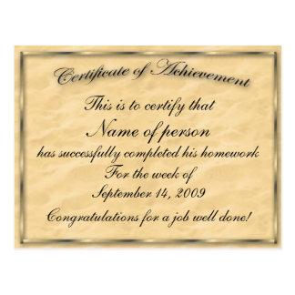 Certificate of Achievement Template Postcard