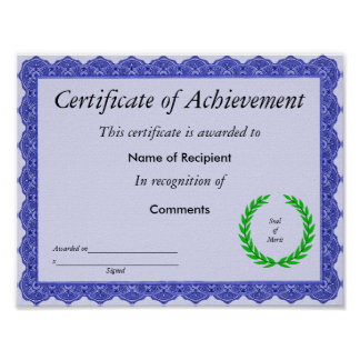 Certificate of Achievment Poster
