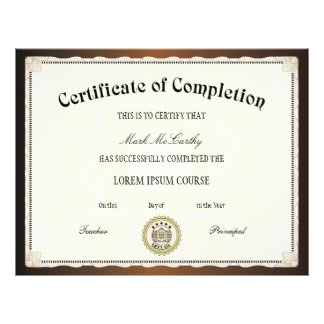 Certificate of Completion Template 21.5 Cm X 28 Cm Flyer