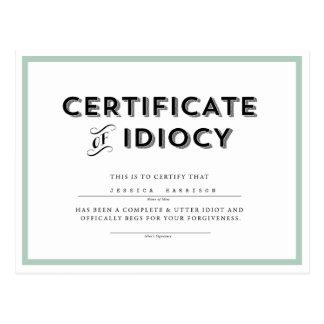 Certificate of Idiocy Apology Postcard // Aqua