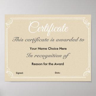 Certificate or Award Poster