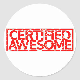 Certified Awesome Stamp Classic Round Sticker