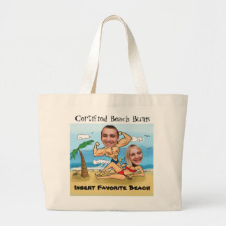 Certified Beach Bums Cut Outs Large Tote Bag