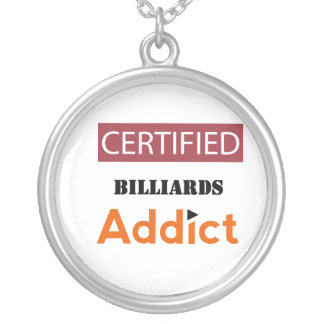 Certified Billiards Addict Silver Plated Necklace