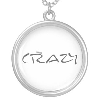 Certified Crazy Official Stamp Capital Letters Silver Plated Necklace