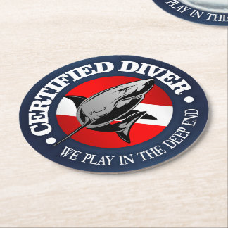 Certified Diver (Shark) Round Paper Coaster