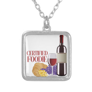 Certified Foodie Silver Plated Necklace