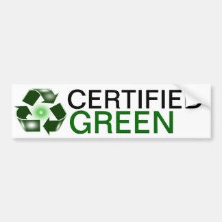 Certified Green Recycle Logo Bumper Sticker