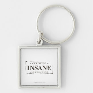 Certified Insane Stamp Silver-Colored Square Key Ring