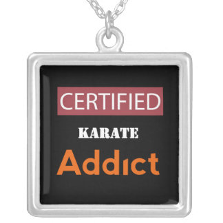 Certified Karate Addict Silver Plated Necklace
