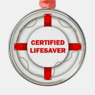 Certified Lifesaver Silver-Colored Round Decoration