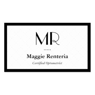 Certified Optometrist - Clean Stylish Monogram Pack Of Standard Business Cards