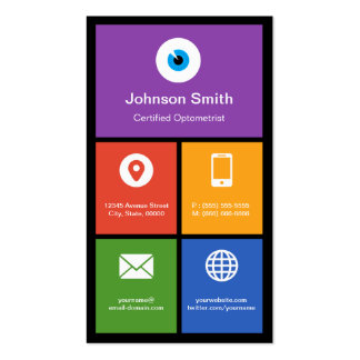 Certified Optometrist - Colorful Tiles Creative Business Card Template