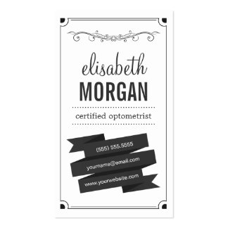 Certified Optometrist - Retro Black and White Pack Of Standard Business Cards