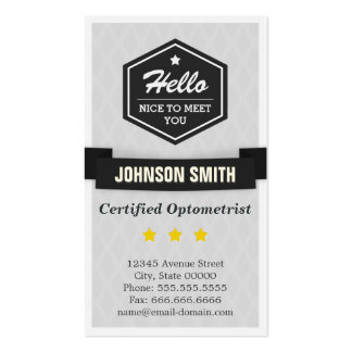 Certified Optometrist - Say Hello in Retro Style Pack Of Standard Business Cards
