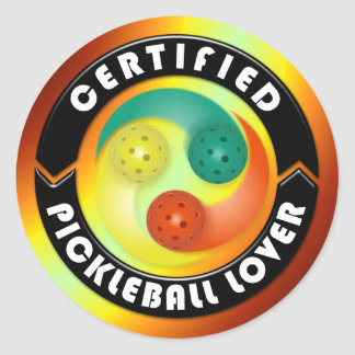 Certified Pickleball Lover 1 Options Classic Round Sticker