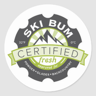 Certified Ski Bum Round Sticker
