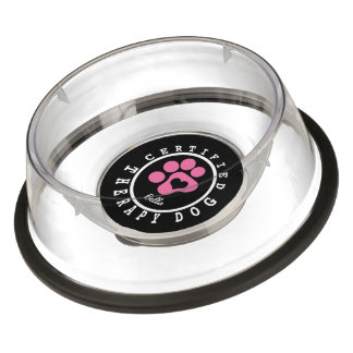 Certified Therapy Dog Pink Paw and Heart Bowl