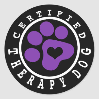 Certified Therapy Dog Purple Paw Round Sticker