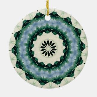 Cerulean Blue and Sacramento Green Mandala Ceramic Ornament