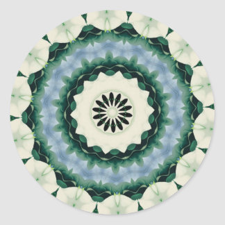 Cerulean Blue and Sacramento Green Mandala Classic Round Sticker