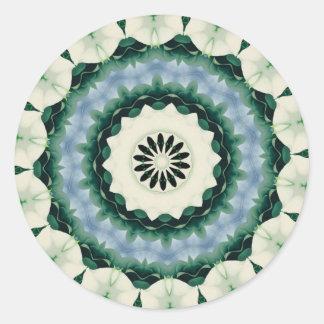 Cerulean Blue and Sacramento Green Mandala Classic Round Sticker