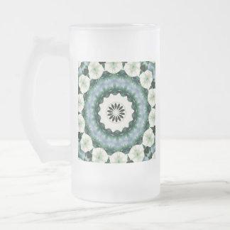 Cerulean Blue and Sacramento Green Mandala Frosted Glass Beer Mug