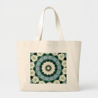 Cerulean Blue and Sacramento Green Mandala Large Tote Bag