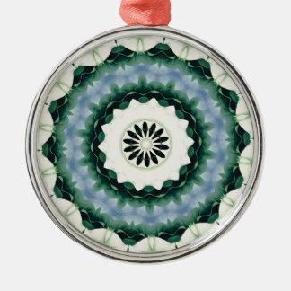 Cerulean Blue and Sacramento Green Mandala Metal Ornament