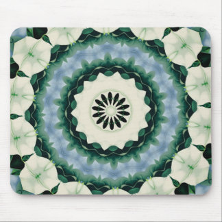 Cerulean Blue and Sacramento Green Mandala Mouse Pad