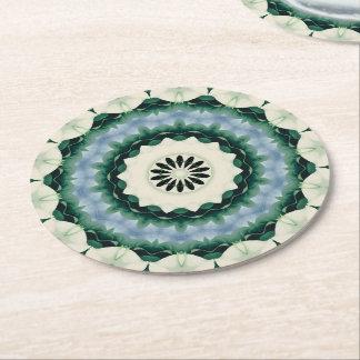 Cerulean Blue and Sacramento Green Mandala Round Paper Coaster