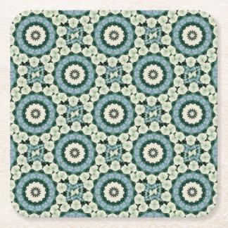 Cerulean Blue and Sacramento Green Mandala Square Paper Coaster