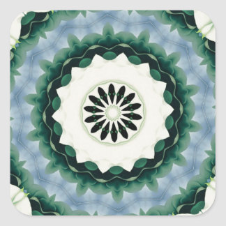 Cerulean Blue and Sacramento Green Mandala Square Sticker
