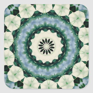 Cerulean Blue and Sacramento Green Mandala Square Sticker