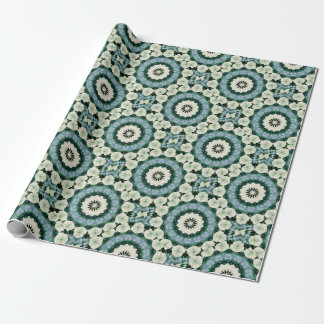 Cerulean Blue and Sacramento Green Mandala Wrapping Paper