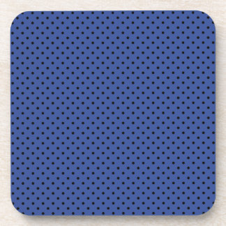 Cerulean Blue And Small Black Polka Dots Pattern Beverage Coaster
