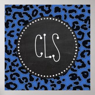 Cerulean Blue Leopard Animal Print Chalk look