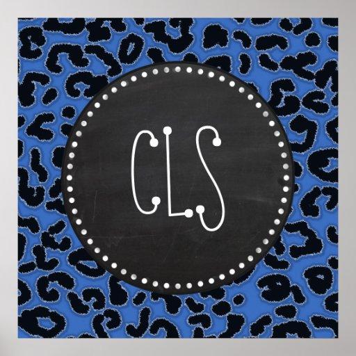 Cerulean Blue Leopard Animal Print; Chalk look