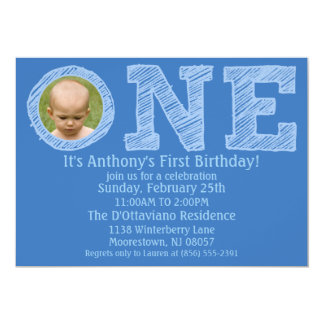 Cerulean Blue The Big One Photo First Birthday Card