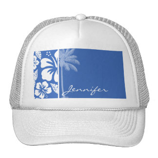 Cerulean Blue Tropical Hibiscus and Palm Trucker Hat