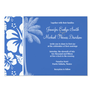 Cerulean Blue Tropical Hibiscus and Palm Custom Announcement