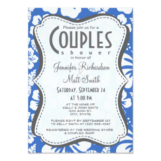 Cerulean Blue Tropical Hibiscus 11 Cm X 16 Cm Invitation Card