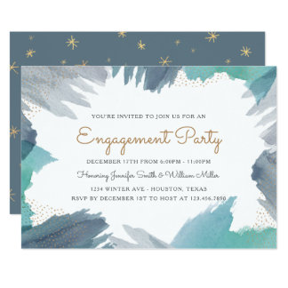 Cerulean Engagement Party Card