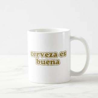 cerveza es buena basic white mug