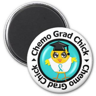 Cervical Cancer Chemo Grad Chick 6 Cm Round Magnet