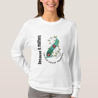 Cervical Cancer Flower Ribbon 3 T-Shirt
