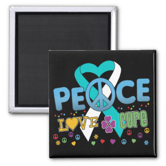 Cervical Cancer Groovy Peace Love Cure Square Magnet