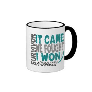 Cervical Cancer Survivor It Came We Fought I Won Ringer Coffee Mug