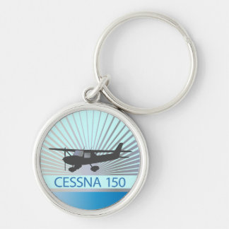 Cessna 150 Aeroplane Silver-Colored Round Key Ring